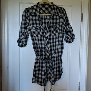 Long Gray and White Plaid Button down with Tie